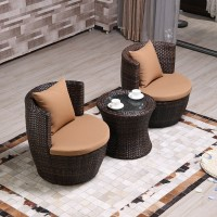 Creative outdoor tables and chairs balcony furniture in rattan