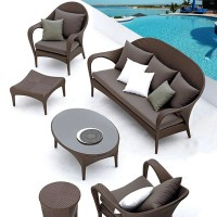 Outdoor Furniture rattan chair and sofa table combination