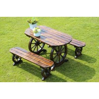 Outdoor Anti-corrosive wooden tables and chairs in wheels style without backresk