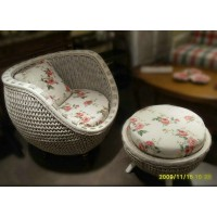 Rattan Lounge Chair With Ottoman