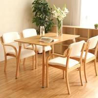 Modern curved wooden dining chair with armrest