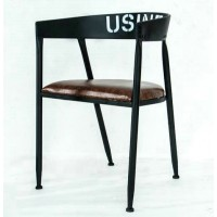 Iron solid wood dining chair leisure chair coffee chair bar chair