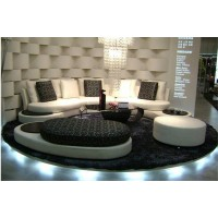 Arc style modern fabric sofa set with chaise