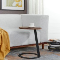 Iron side table with wood top