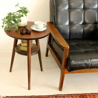 Rubber wood small round tea side table