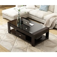 Wooden Coffee Table tempered glass