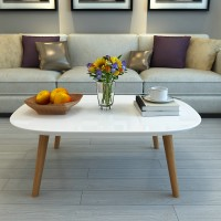 Oval rectangular coffee table solid wood