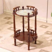 Round small side table with rack