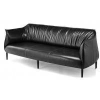 Retro Eggplant leather sofa