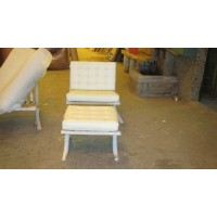Cream Barcelona Chair with Ottoman