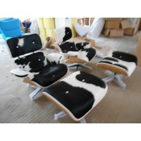 Eames style Lounge Chair and Ottoman in Cowhide Leather