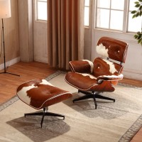 Charles Eames style Lounge Chair and ottoman in Real Leather