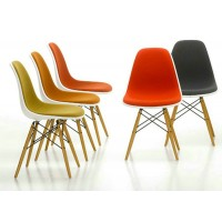 DSW Eames Style padded dining side chair with wooden legs base