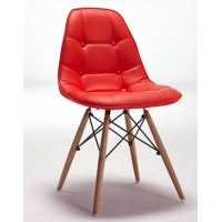 DSW Eames Style leather padded side dining chair with button and wooden legs base