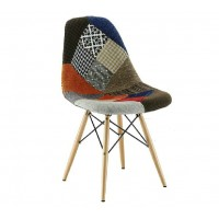 DSW Eames Style Patchwork Fabric Padded side dining chair