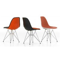 DSR Eames Style padded dining side chair with steel legs base