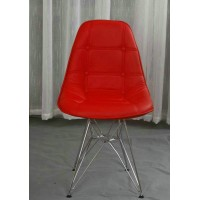 DSR Eames Style leather side dining chair with button and steel legs base
