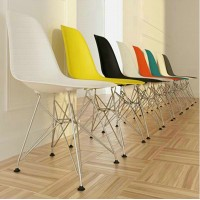 DSR Eames Style dining side chair with chromed steel legs base-made in plastic