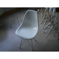 DSR Eames Style dining side chair with chromed steel legs base-made in fiberglass