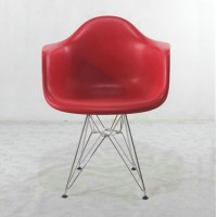 DAR Eames Style armed dining Chair with arms & steel legs base, made in plastic
