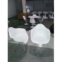 DAR Eames Style armed dining Chair with arms & steel legs base, made in fiberglass