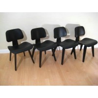 Eames Style DCW plywood dining Chair in Black Color Ash