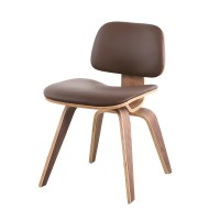Eames Style DCW plywood dining Chair in Real Leather