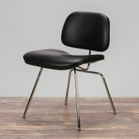 Eames Style DCM plywood dining Chair in Real Leather