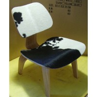 Eames Style LCW plywood dining Chair in Cowhide