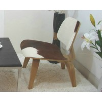 Eames Style LCW plywood dining Chair in Pony Skin Leather