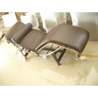 Le Corbusier Style LC4 Chaise Lounge Chair, real leather