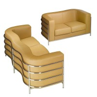 Onda Loveseat Sofa in Fabric or PU leather