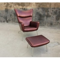 Hans J Wegner style wing chair,made in leather