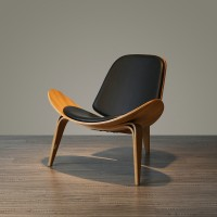 Hans Wegner Style Three Legged Shell Chair In Black Italian Leather