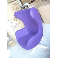 Egg chair and ottoman in real calf leather