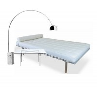 An Off White Barcelona Daybed with a barcelona table plus a free arco lamp as a gift