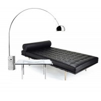 A black Barcelona Daybed with a barcelona table plus a free arco lamp as a gift